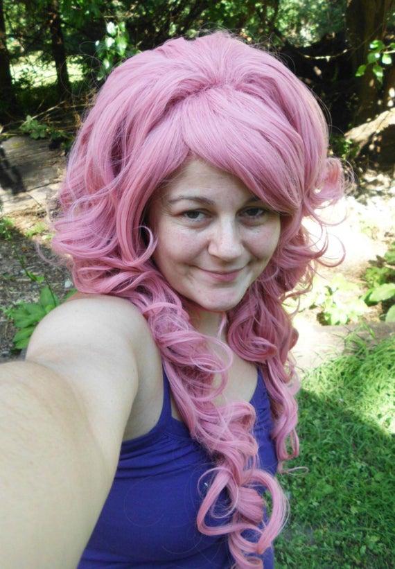 Long pastel pink wig