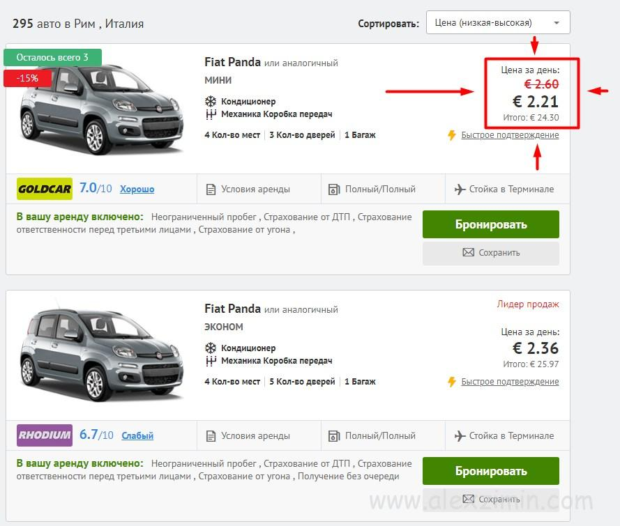 Аренда авто в риме дешево
