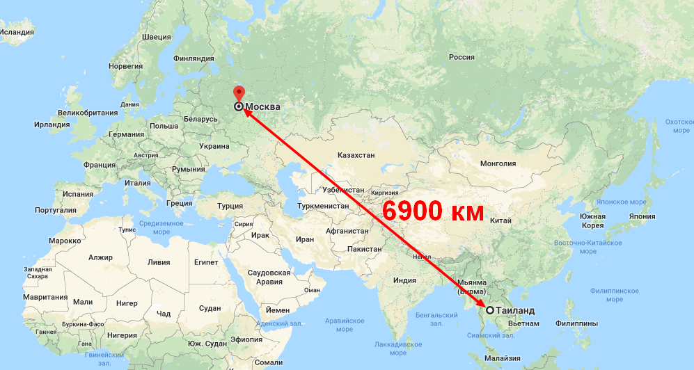 Сколько лететь таиланд из москвы прямым