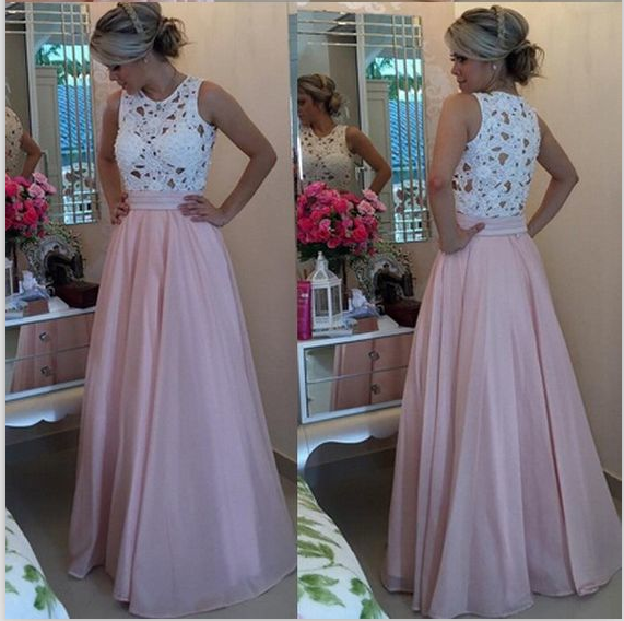 Light pink and white prom dresses