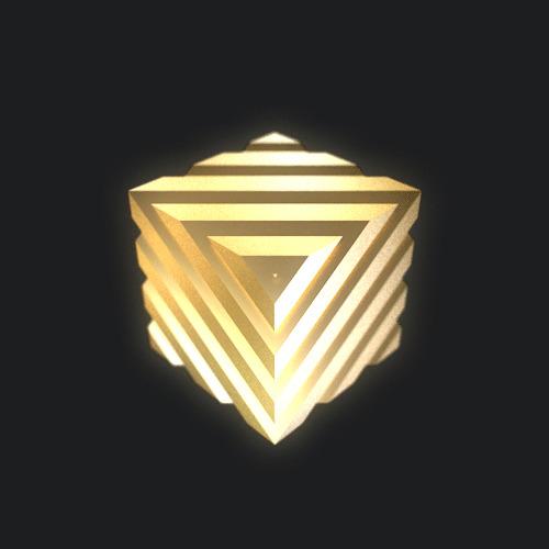 Золотой кубик с желобками