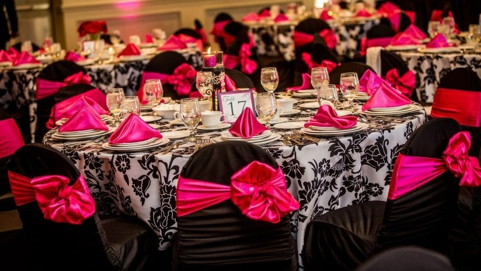 Black white hot pink wedding decor