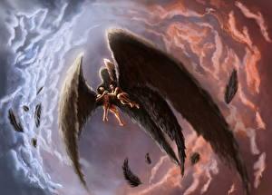 Картинки Ангелы Мужчины Крылья Двое Драка