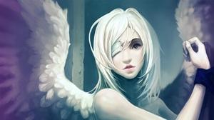 Превью обои ангел, крылья, рука, повязка, глаз