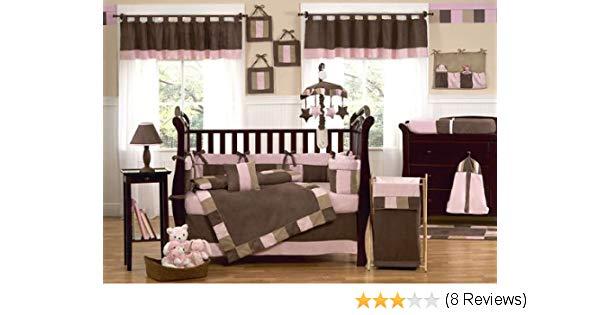 Pink and brown baby crib set