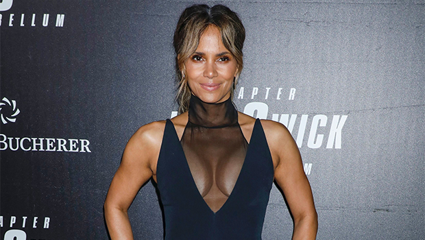 Halle berry wearing red lipstick