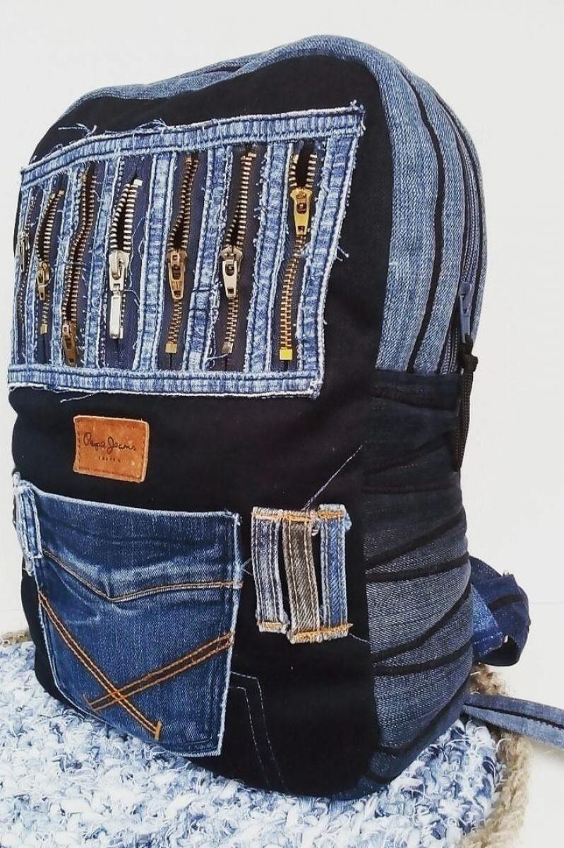 Самодельный рюкзак из джинсов