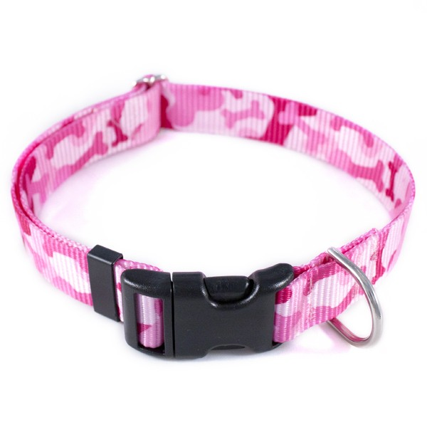 Pink camo dog harness and leash