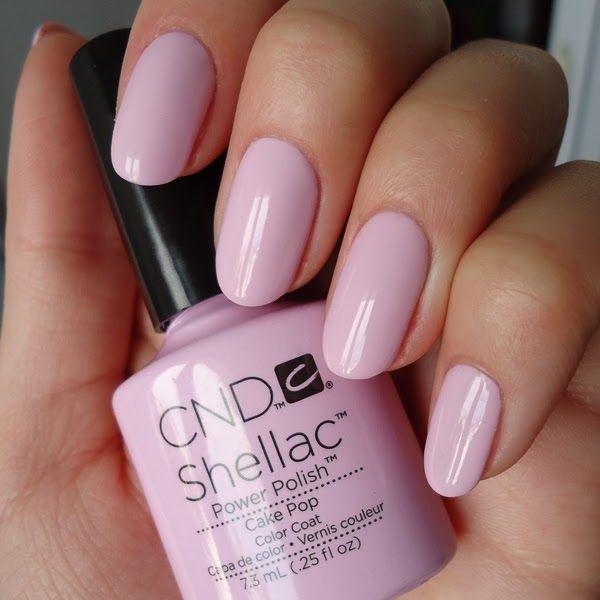 Pink shellac nails
