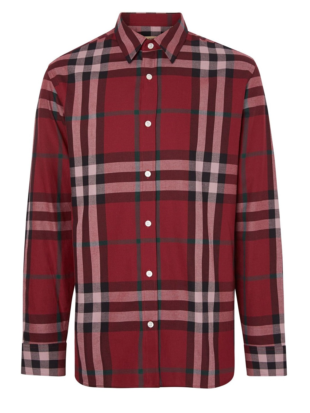 Burberry Check Cotton Flannel Shirt In Red