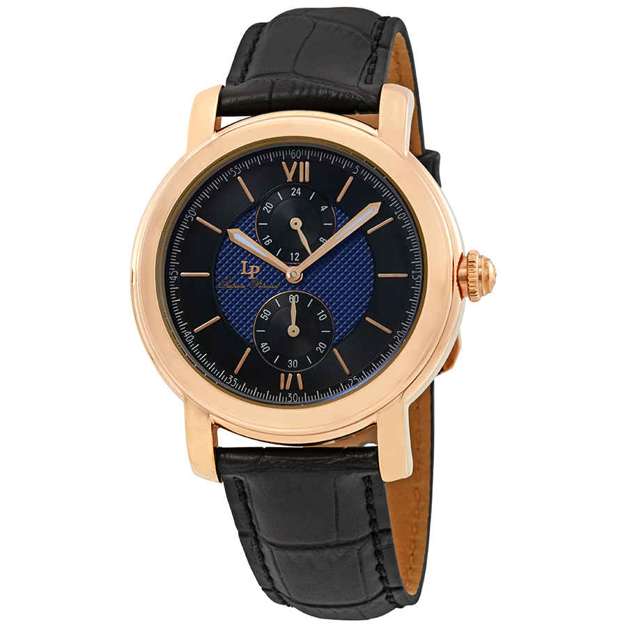 Lucien Piccard Spiga Dual Time Mens Watch 40026-rg-03-bc In Black,blue,gold Tone,pink,rose Gold Tone