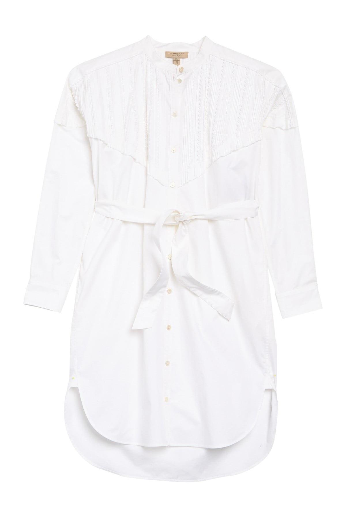 Burberry Aronia Abizt Long Sleeve Shirt Dress In White