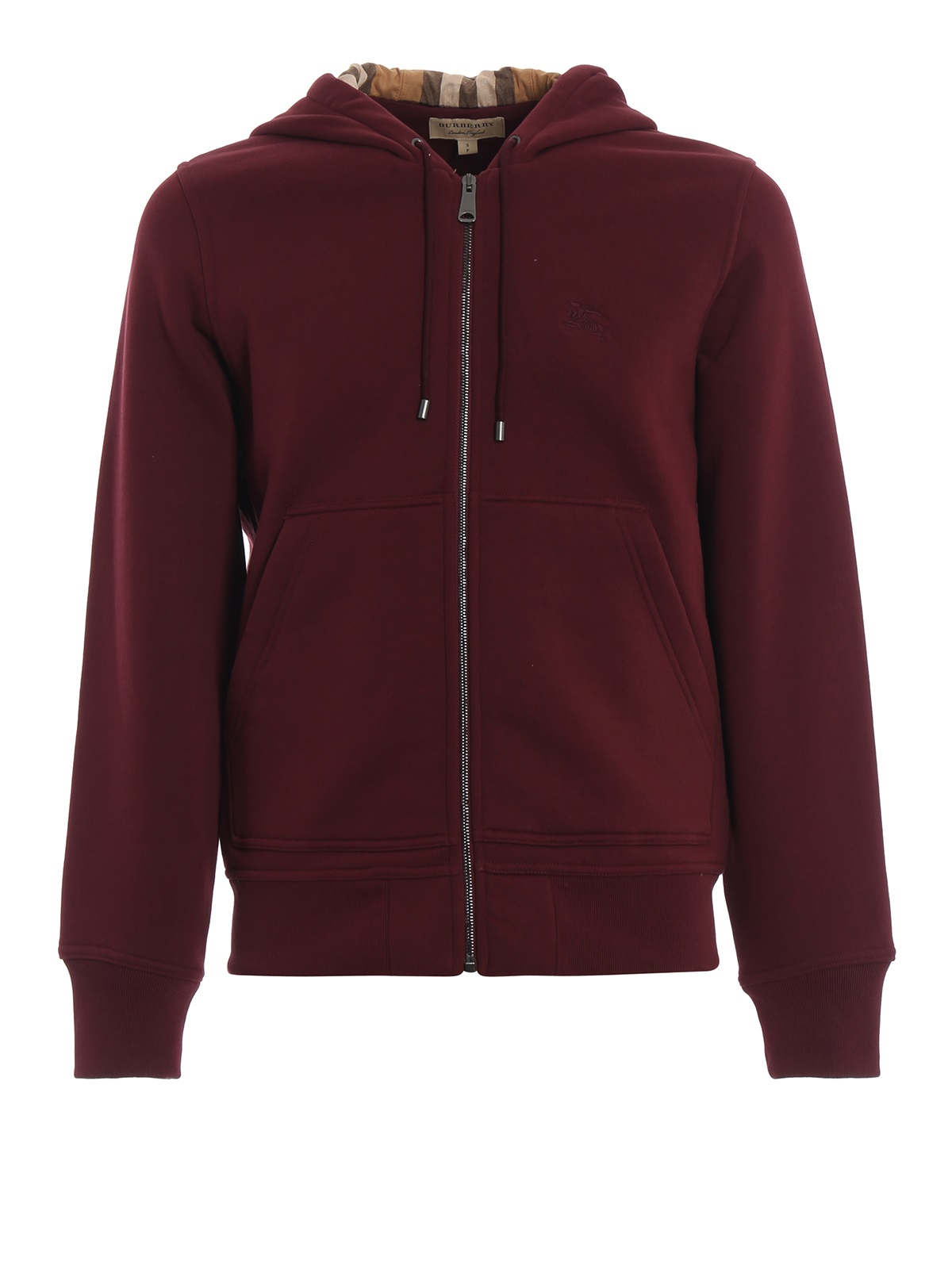 Burberry Mens Fordson Zip Hoodie With Check Lining In Red