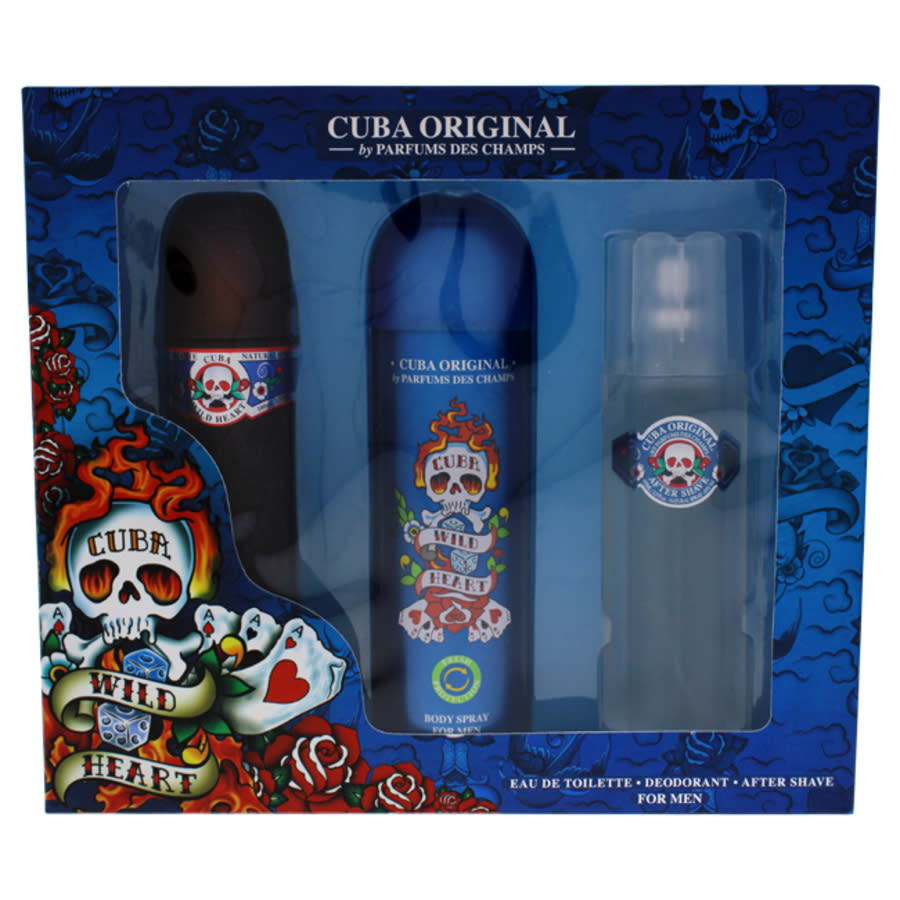 Cuba Wild Heart By  For Men - 3 Pc Gift Set 3.4oz Edt Spray In N,a