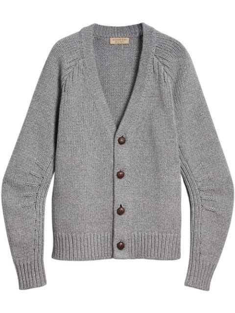 Burberry Mens Mid Grey Melange Caldwell V-neck Cardigan
