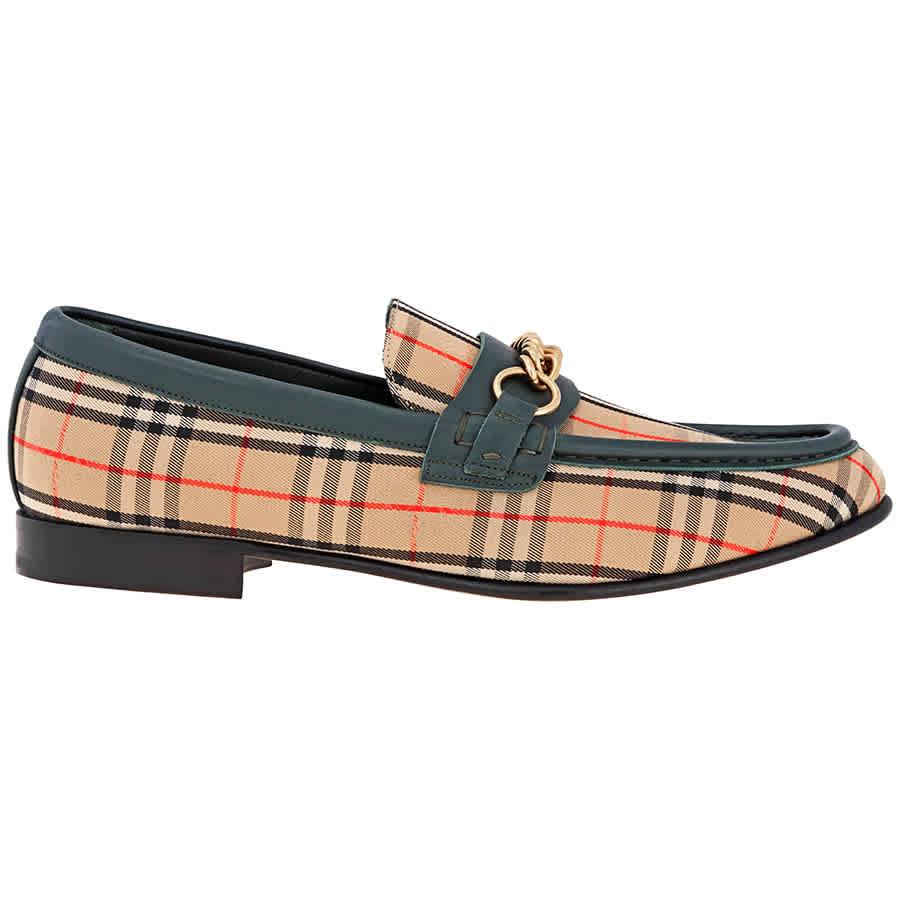 Burberry Mens The 1983 Check Link Loafer Vintage Forest Green With Chain In Gold Tone,green