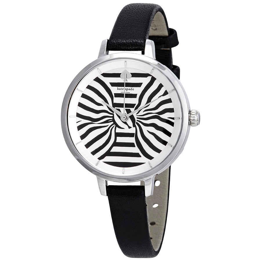 Kate Spade Metro Silver Dial Ladies Watch Ksw1032 In Black