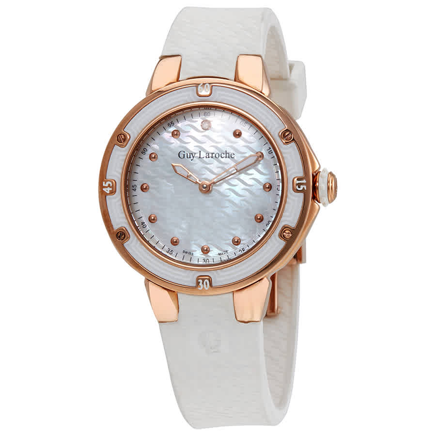 Guy Laroche Mother Of Pearl Dial Diamond Ladies Watch Sl30201 In Gold Tone,mother Of Pearl,pink,rose Gold Tone,white
