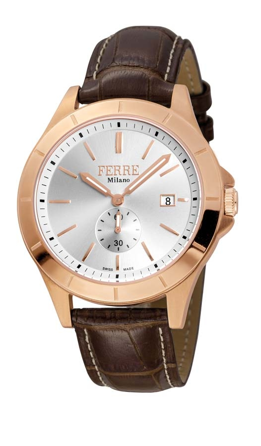 Ferre Milano Silver Dial Brown Leather Mens Watch Fm1g080l0031