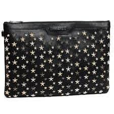 JIMMY CHOO MENS LEATHER CLUTCH BAG BIKER BLACK/SILVER DEREK STARS