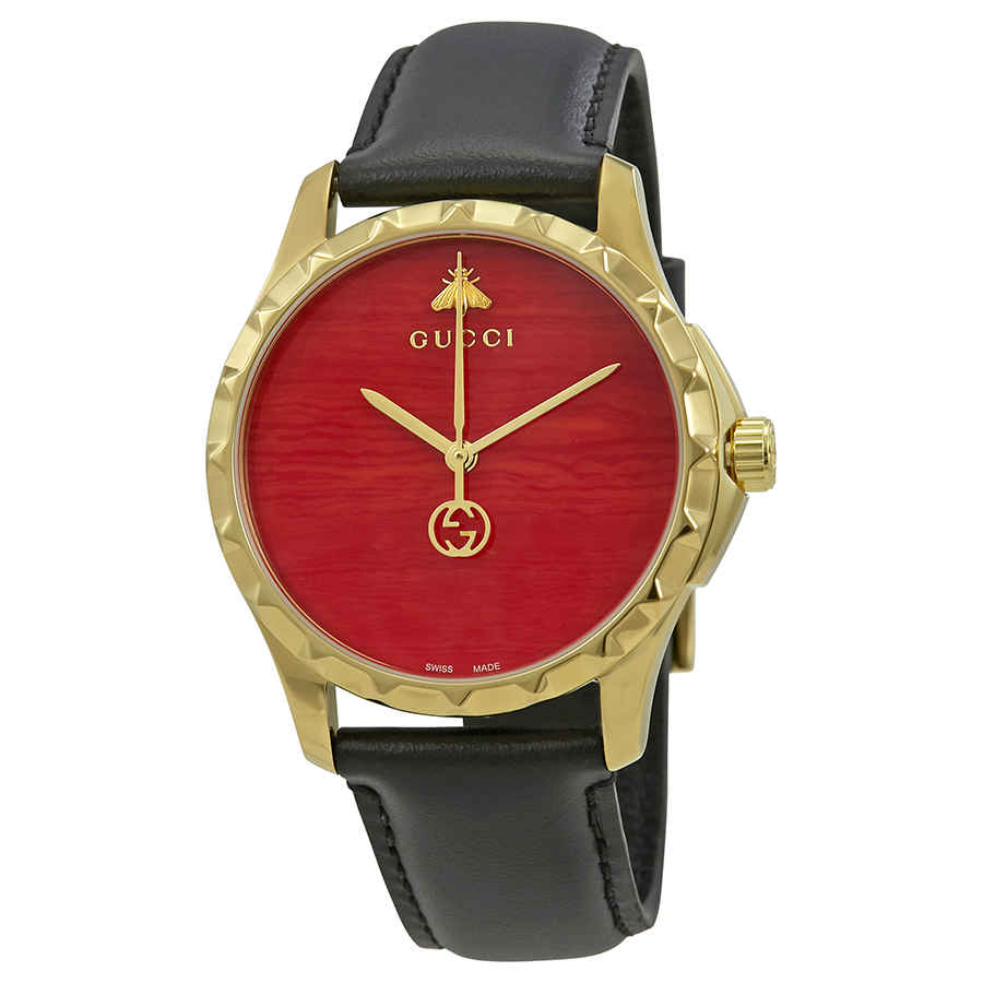 Gucci G-timeless Coral Red Dial Mens Watch Ya126464 In Black,gold Tone,pink,red,yellow