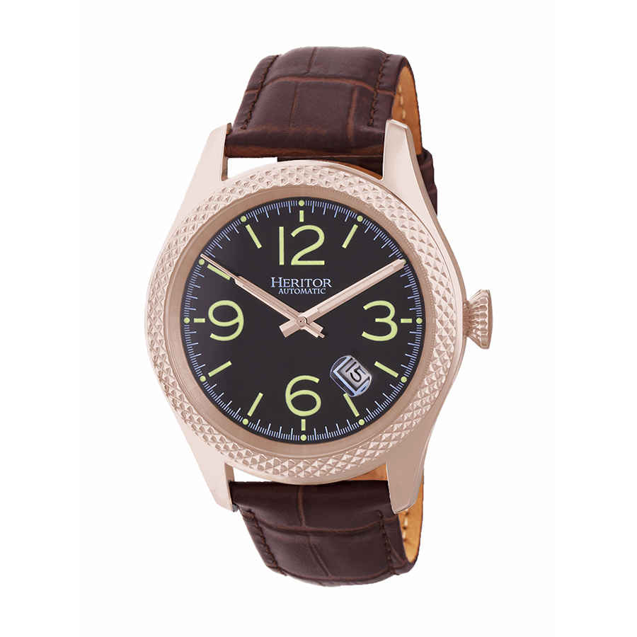 Heritor Barnes Automatic Black Dial Dark Brown Leather Mens Watch Hr7107 In Pink