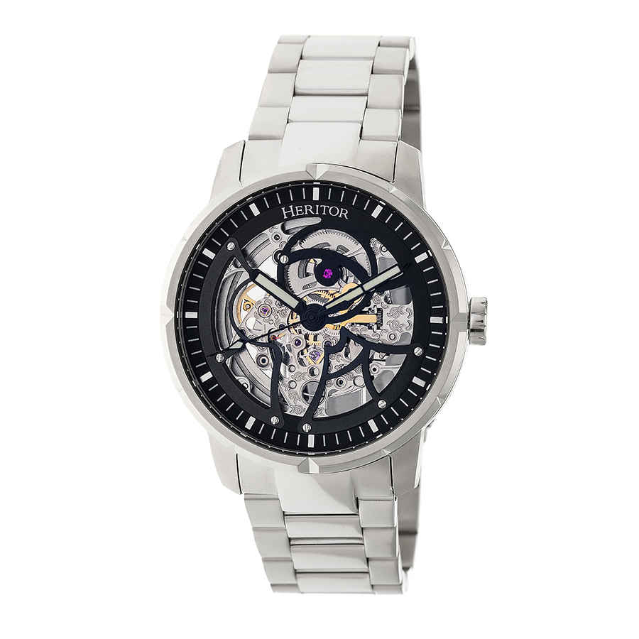 Heritor Ryder Automatic Black Skeleton Dial Mens Watch Hr4608 In Black,silver Tone