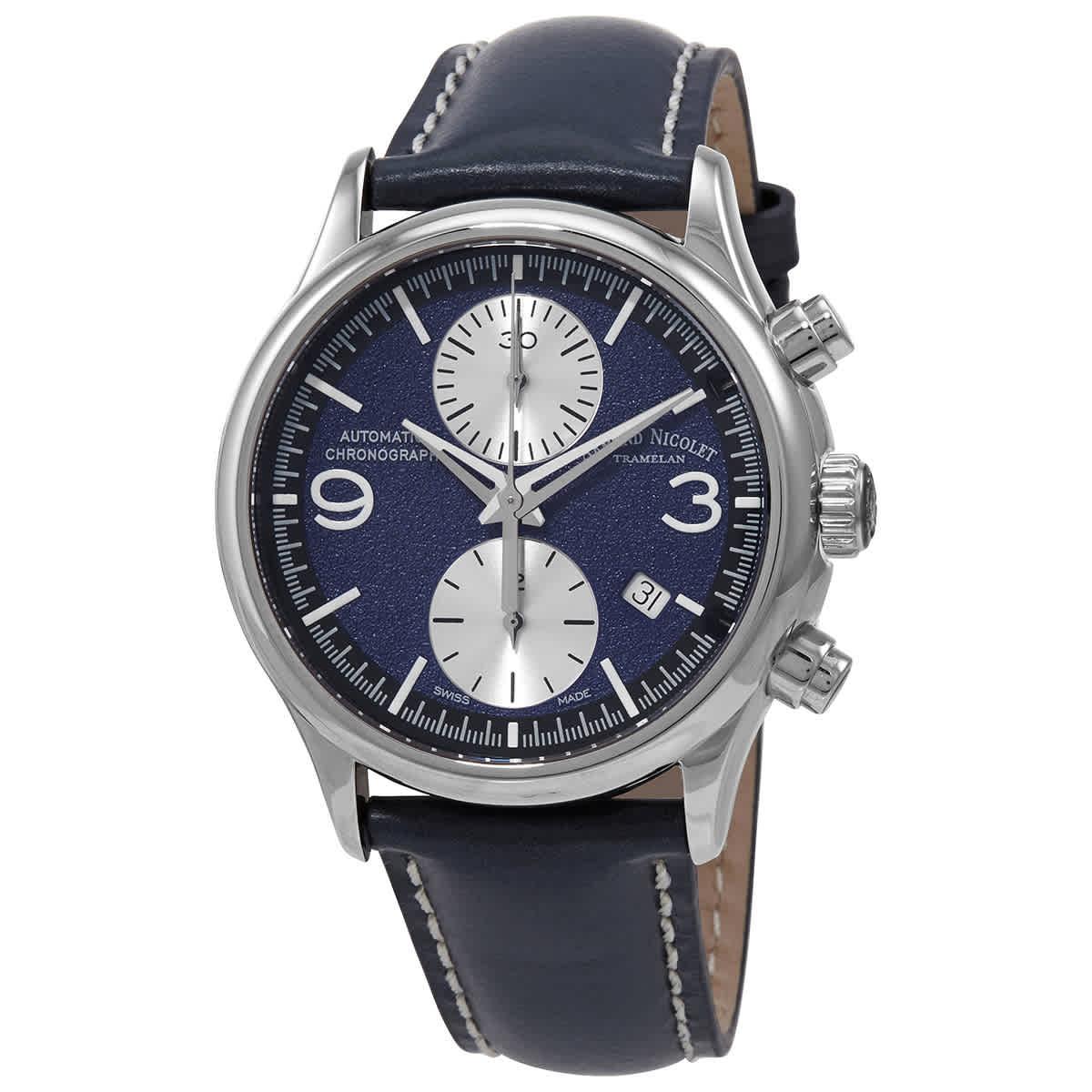 Armand Nicolet Mha Chronograph Automatic Dark Blue Dial Mens Watch A844haa-bu-p140bu2 In Blue,silver Tone