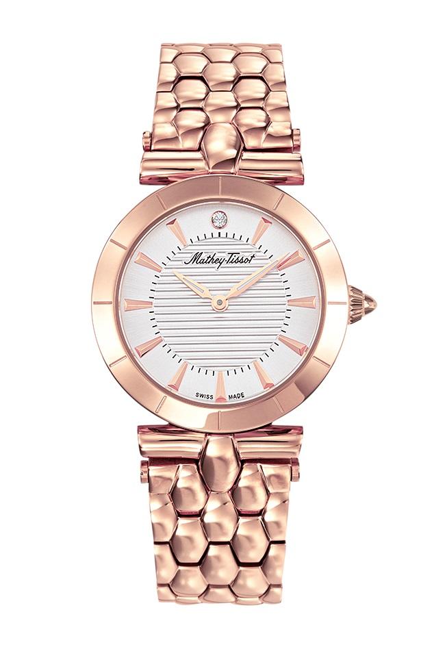 Mathey-tissot Tarta Quartz White Dial Ladies Watch D106ri In Gold Tone,pink,rose Gold Tone,white