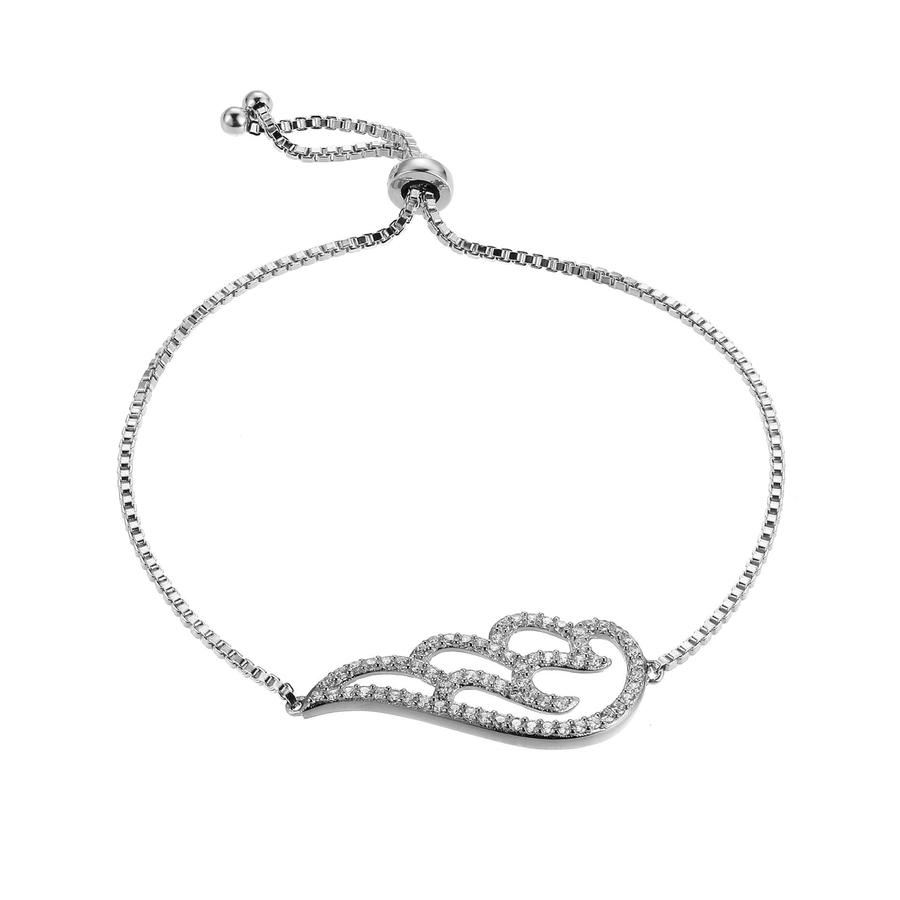 Morgan & Paige Rhodium Plated Sterling Silver Guardian Angel Wing Cubic Zirconia Adjustable Bracelet In White