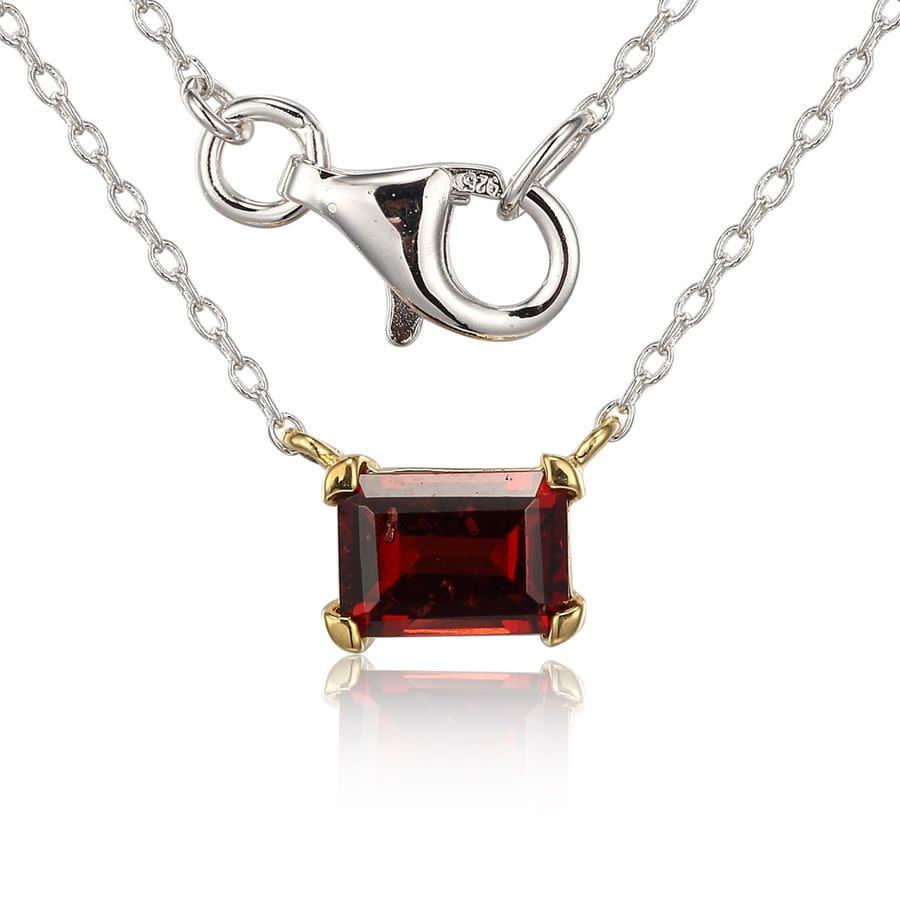 Classic Treasures Sterling Silver & Gold Plated Necklace With Genuine Garnet In Metallic