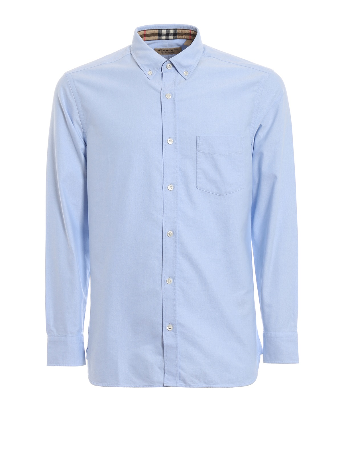 Burberry Mens Harry Shirt With Check-faced Cuffs In Blue