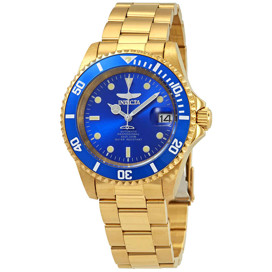 Invicta Pro Diver Automatic Blue Dial Mens Watch 24763 In Gold