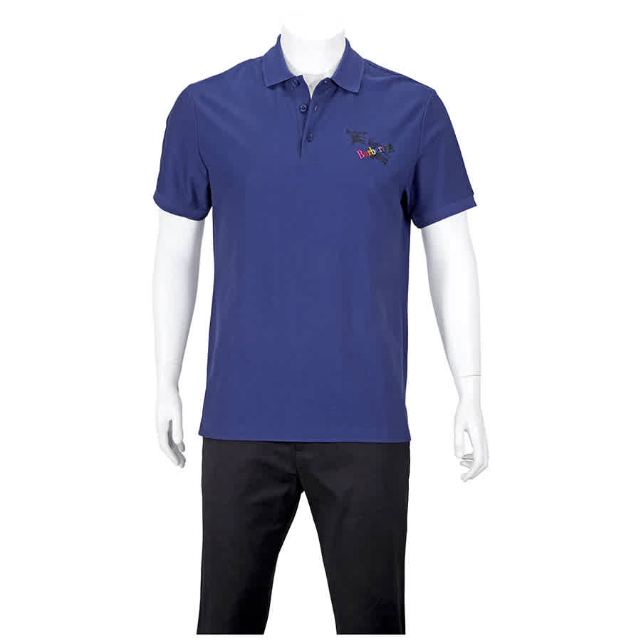 Burberry Mens Knit Tops Solid Indigo Logos Polo Size Small In Purple