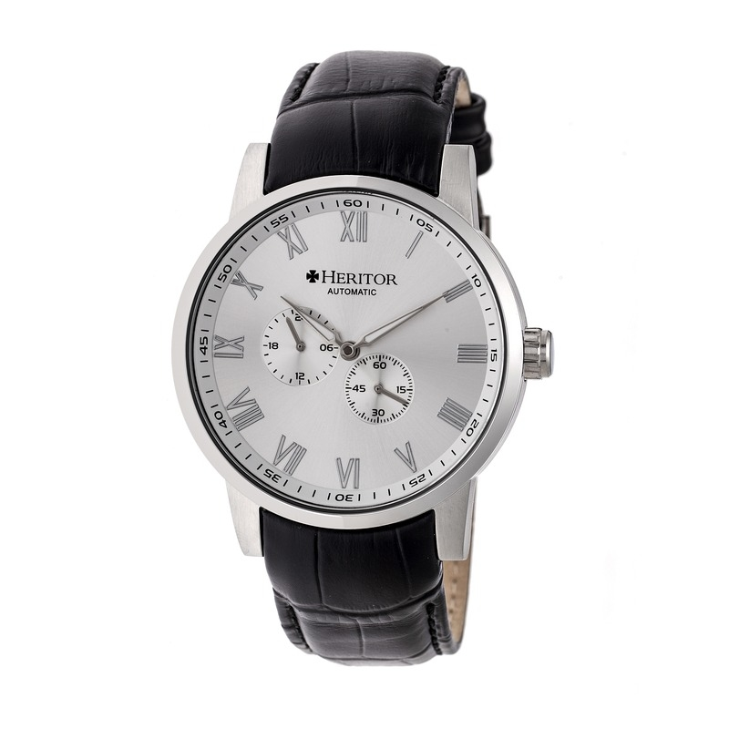 Heritor Romulus Silver Dial Black Leather Strap Automatic Mens Watch Hr6403 In Black,silver Tone
