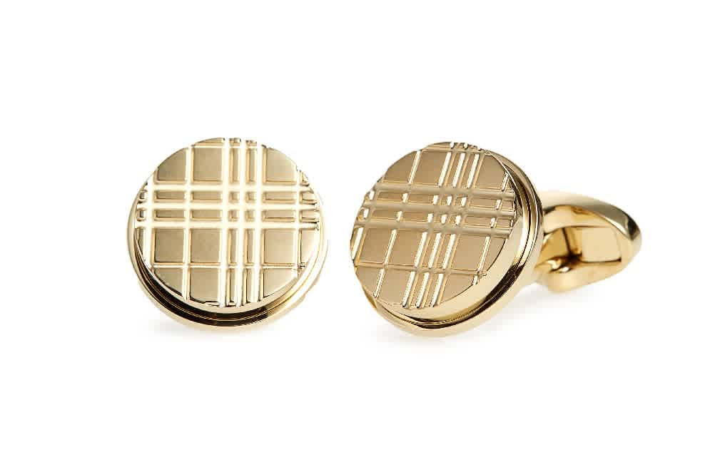 Burberry Mens Light Gold Check-engraved Round Cufflinks In Gold Tone,yellow