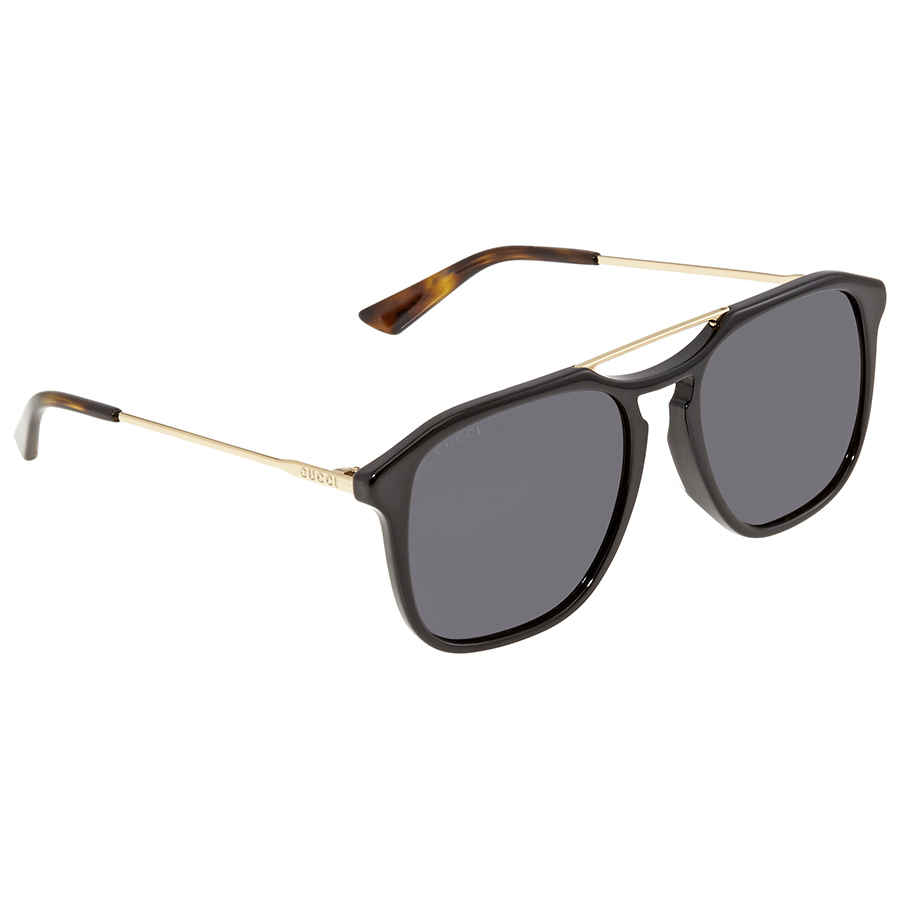 Gucci Grey Smoke Square Mens Sunglasses Gg0321s 001 55 In Black,gold Tone,grey