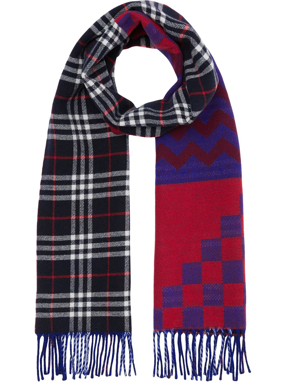 Burberry Reversible Graphic And Check Wool Cashmere Scarf In Blue