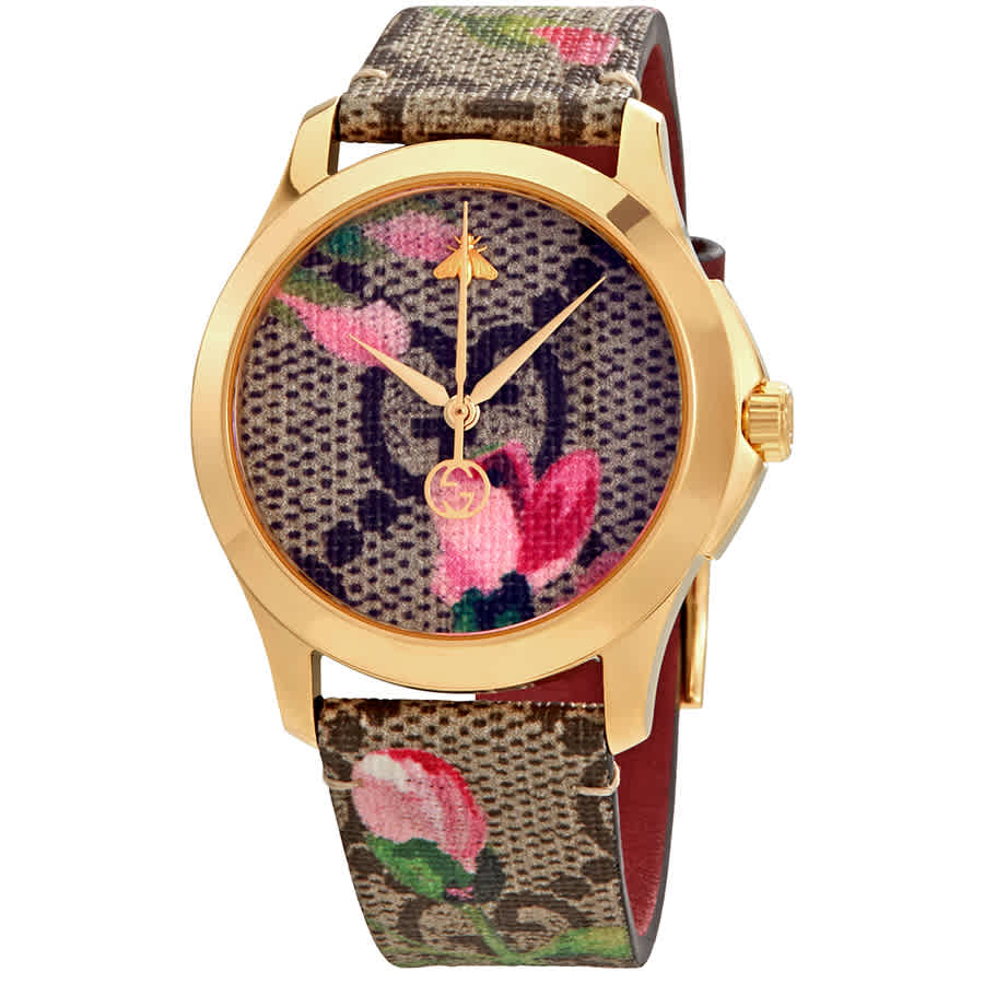 Gucci G-timeless Pink Blooms Print Dial Ladies Watch Ya1264038 In Multi