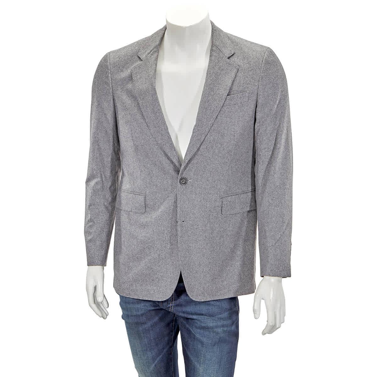 Burberry Mens Midgrey Melange Wool Cashmere Blazer In Grey