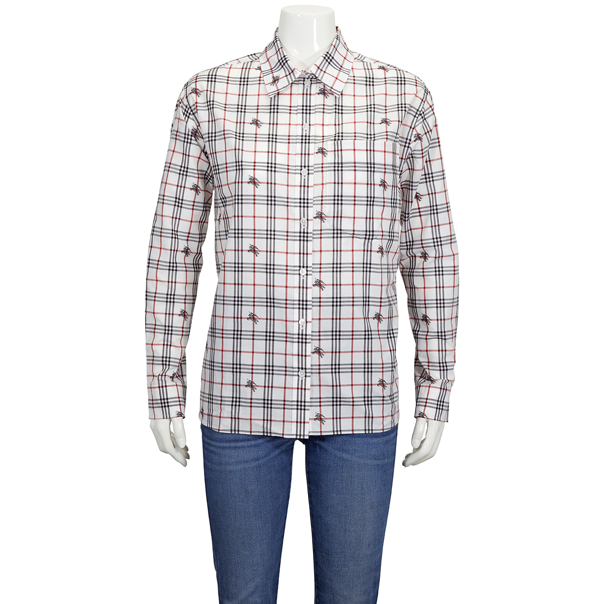 Burberry Ladies Equestrian Knight Check Cotton Shirt In White