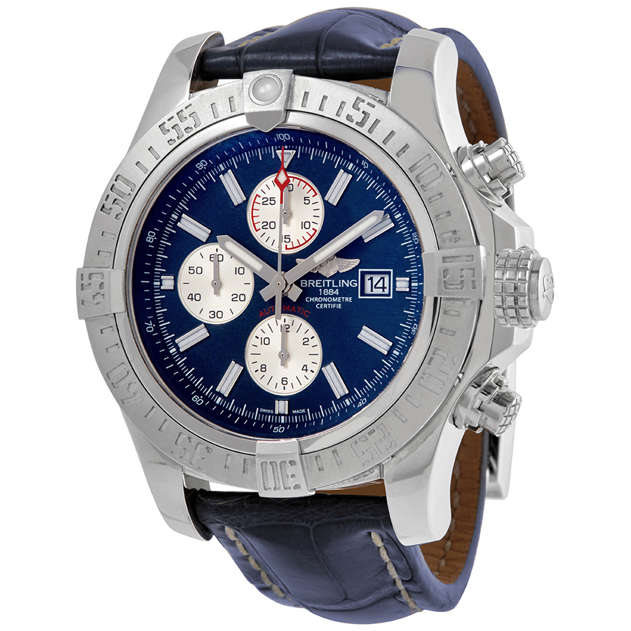 BREITLING PRE-OWNED BREITLING SUPER AVENGER II CHRONOGRAPH AUTOMATIC CHRONOMETER BLUE DIAL MENS WATCH A1337111