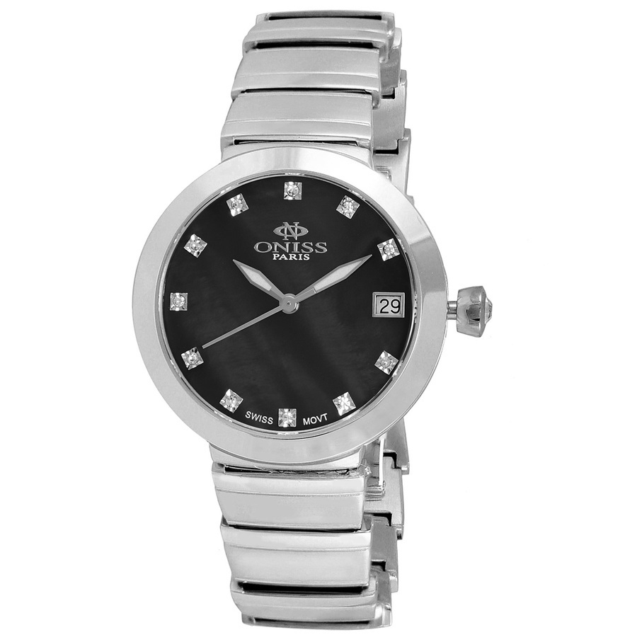 Oniss On5559ss Quartz Black Dial Ladies Watch On5559sslbk In Black,silver Tone