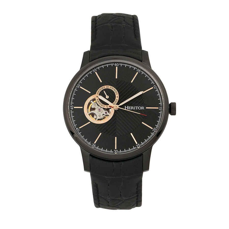 Heritor Landon Black Dial Black Leather Mens Watch Hr7706