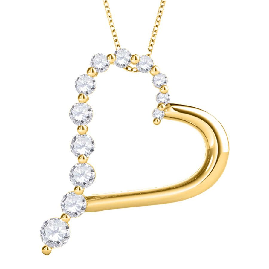 Maulijewels 0.50 Carat Natural Diamond Heart Pendant For Woman In 14k Rose White & Yellow Gold With 18'' Sterlin