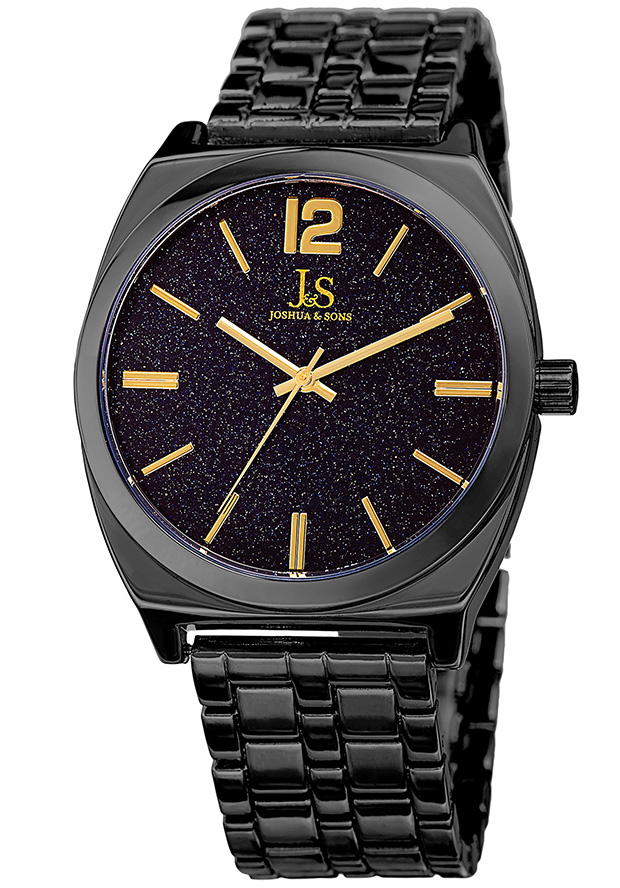 Joshua And Sons Joshua & Sons Sandstone Dial Mens Watch Jx122bk In Black