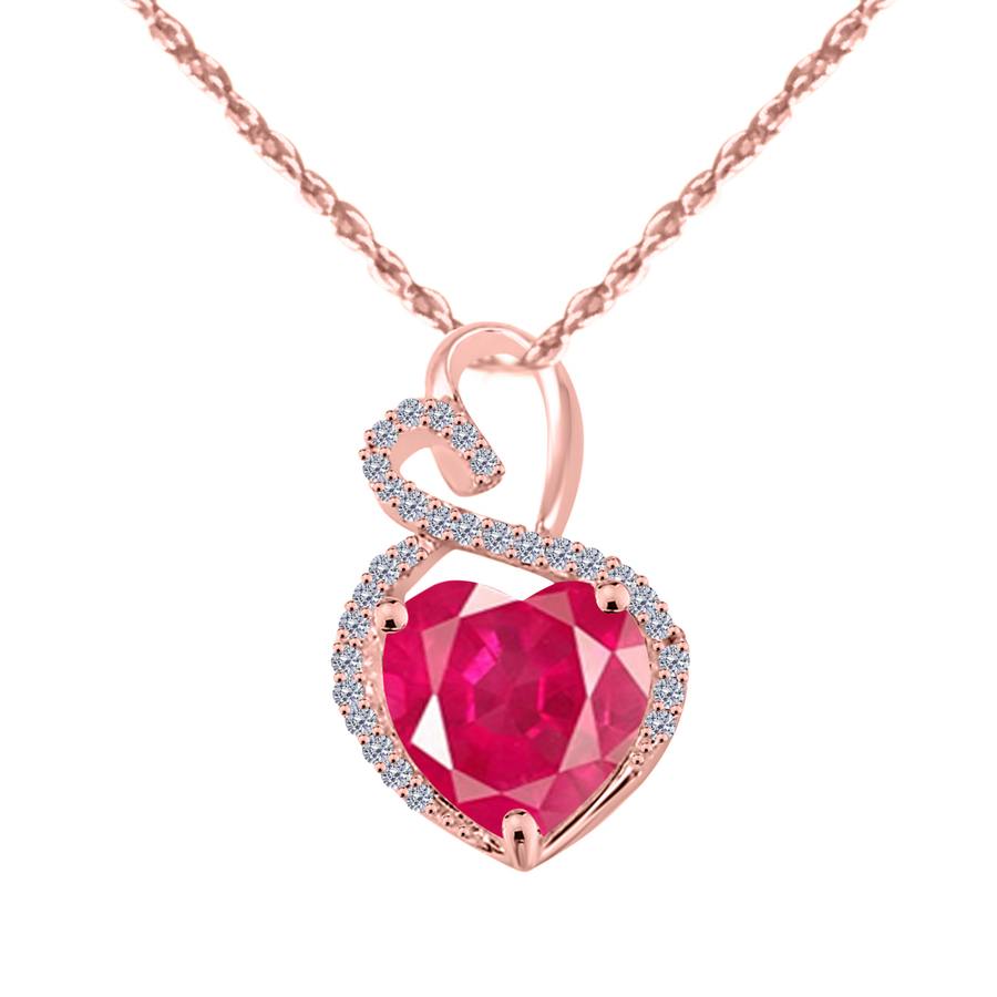 Maulijewels 4 Carat Heart Shape Ruby Gemstone And White Diamond Pendant In 14k Rose Gold With 18'' 14k Rose Gold In Pink