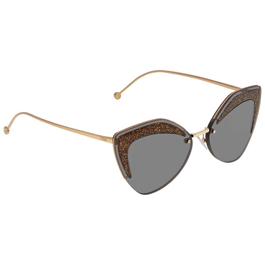 Fendi Glass Grey Geometric Ladies Sunglasses Ff0355skb7ir66 In Gold Tone,grey,pink,rose Gold Tone