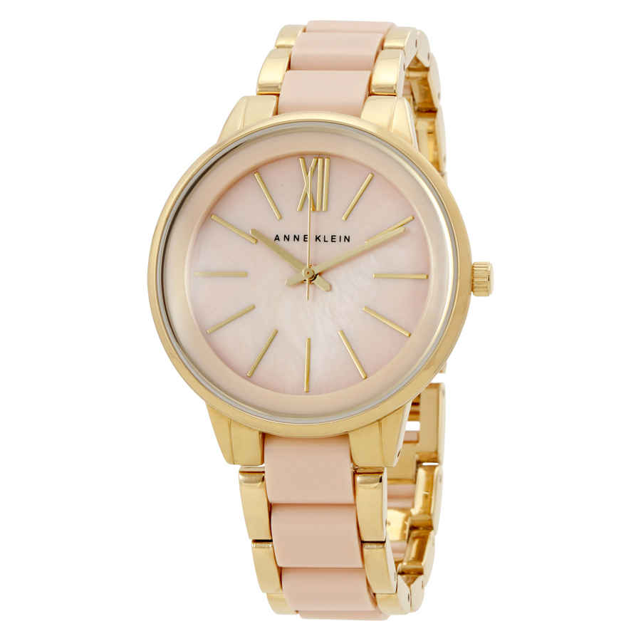 Anne Klein Pink Mother Of Pearl Dial Ladies Watch 1412bmgb In Gold Tone,mother Of Pearl,pink