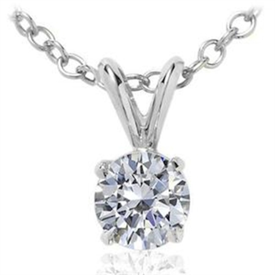 Maulijewels 0.20 Carat Natural Round White Diamond Solitaire Pendant In 14k White Gold With 18'' 14k White Gold  In Gold Tone,silver Tone,white